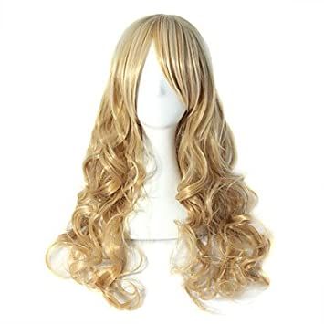 GSP-Onda de oro cenicienta onda larga peluca rubia syntheic alta calidad , blonde