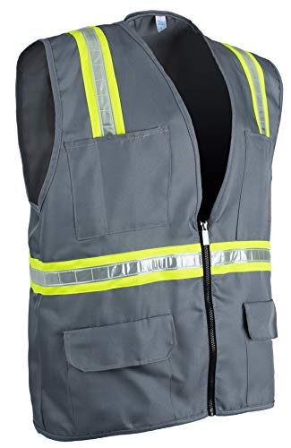 2 Chest Pockets with Pen Dividers 8038-Gray Gray, Medium Safety Depot Safety Vest High Visibility Reflective Tape with 4 Lower Pockets