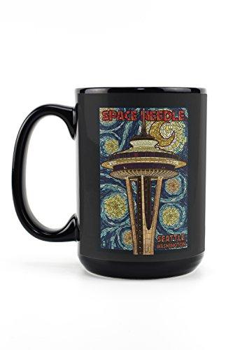 Seattle, Washington - Space Needle Mosaic (15oz Black Ceramic Mug - Dishwasher and Microwave Safe)