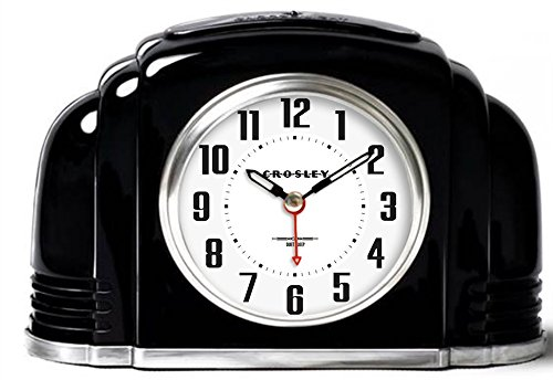Timelink 33388b Crosley Decorative Analog Clock for Desk and Mantel, Quiet Sweep Movement-no Ticking, Automatic and Adjustable Night Light, Beeping Alarm with Snooze, Simple Setting, Black