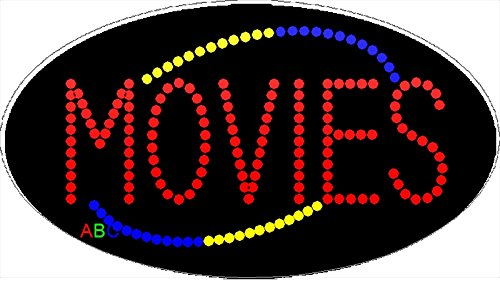 15''x27'' Animated Movies LED Sign w/Flashing Controller by ABC