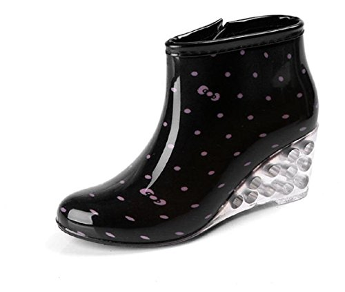 Image of Kuro&Ardor Rubber Boots Woman Lined Low Short Rain Shoes Waterproof Polka dot Zipper Wedge Sole Skeleton