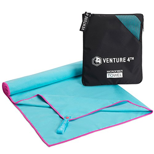 VENTURE 4TH Quick Dry Microfiber Towel - Odor Resistant , High Performance Towels For Gym , Camping , Travel , Yoga and Beach (Blue-Pink Large) - Includes Tear Resistant Bag
