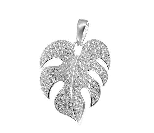 (Rhodium plated 925 sterling silver Hawaiian monstera leaf cz 21mm pendant)