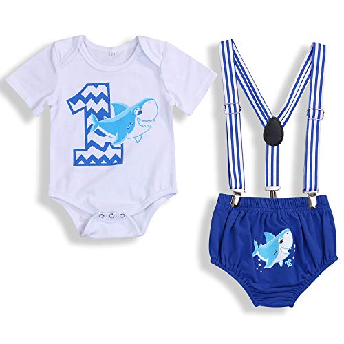 Baby Birthday Shark Clothes Baby Boy Girl Short Sleeve Bodysuit and Cake Smash Outfits (Blue - B, 9-15 Months)]()