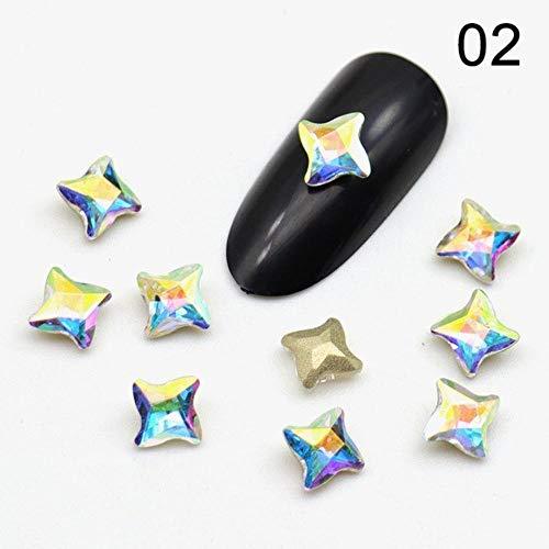 10 Pcs Darts Crystal Rhinestones Sharp Bottom Glass Stone Nail Charms Glitters for Nails Gems Manicure 3D Nail Art Decorations (02) ()