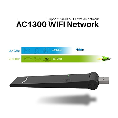 WAVLINK AC1300 Dual Band USB 3.0 Wireless Network Adapter, High Speed Long Range WiFi Adapter USB Dongle for PC Computer Desktop Laptop, Supports Windows XP/Vista/7/8/10, Mac OS by WAVLINK (Image #2)