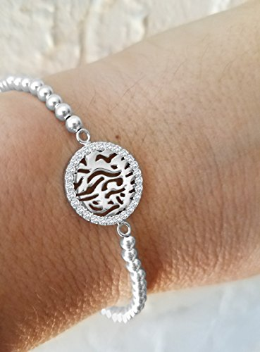 Shema Israel Biblical Blessing Bracelet by Alef Bet Jewelry - Silver with Gemstones and 3mm Beads - 3 Stone Jewelry