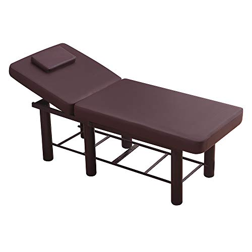 Professional Massage Bed Table Massage Bed SPA Beauty Bed Lift Bed Adjustable With Hole Metal Bed Frame Leather Bed Heavy Duty 71 Inch Brown