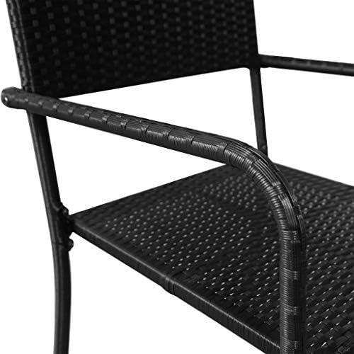 yorten 2 Unidades Sillas de Comedor de Polirat/án de Jard/ín Rat/án Sint/ético 51 x 58,5 x 87 cm Negro