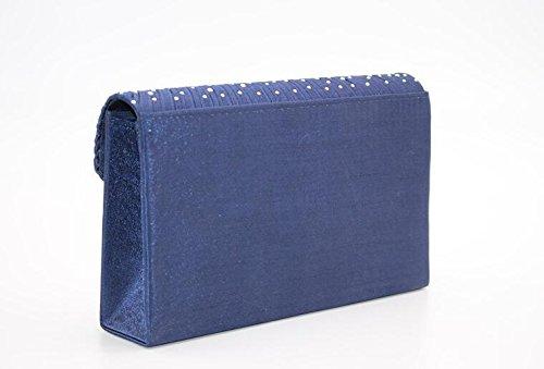 Satin dames sac Blue à soirée strass embrayage main sac Umhaengetasche de aaqwrPB