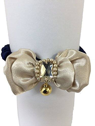 (SHAKE PANPLY Brand, Beads (Elegance Ribbon) Cat Collar Accessories (Size:18cm~28cm) (Beige))