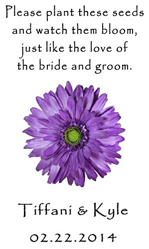 (Personalized Wedding Favor Wildflower Seed Packets Purple Daisy Design 6 verses to choose from Set of 100)