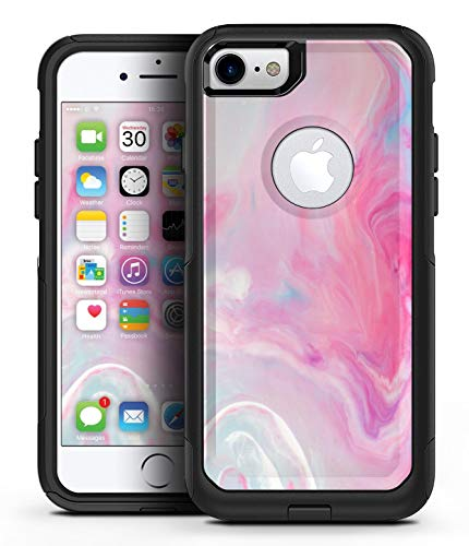 Marbleized Pink Paradise V5 - Design Skinz Decal Skin Wrap Kit for the iPhone 7 or 8 OtterBox Commuter Case