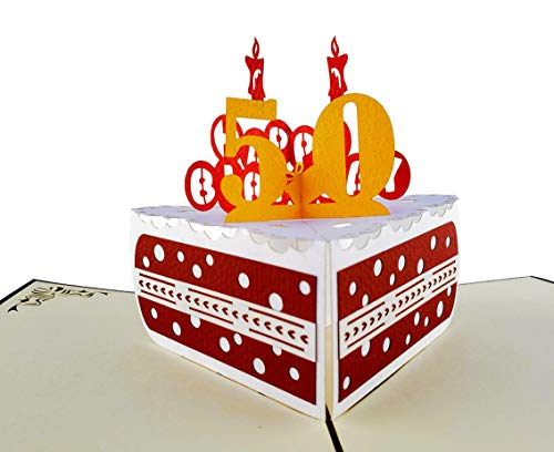 iGifts And Cards Happy 50th Birthday Cake 3D pop up card - Awesome, Cute, Fun, Cool, Best Wishes, Unique, Special Occasion, Half-Fold, Celebration, Husband, Wife, Best Friend, BFF, Congratulations]()