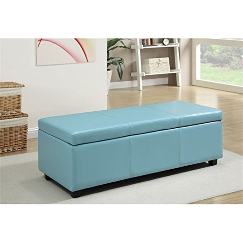 Simpli Home AXCF18-BU Avalon 48 inch Contemporary  Storage Ottoman in Blue Faux Leather