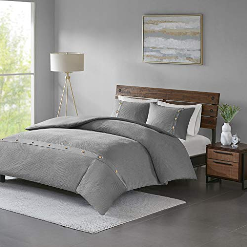 Madison Park Finley 3 Piece Cotton Waffle Weave Duvet Cover Set, King/Cal King, Grey (Renewed)