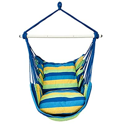 Highwild Hanging Rope Hammock Chair Swing Seat for Any Indoor or Outdoor Spaces - 500 lbs Weight Capacity - 2 Seat Cushions Included (Blue & Green) - ▶ RELIABLE & DURABLE - This hammock is handcrafted from soft and durable polyester cotton ropes and canvas fabric, it brings great softness, durability and comfort. ▶ SAFE & STRONG - Sturdy Carbon Steel Spreader Bar makes the hammock swing more stable, its Deep Metal Groove Design prevents the rope from sliding. It has strong strength for supporting your weight and can hold up to 500 pounds. ▶ Convenience - This stylish hammock swing hangs anywhere and is easy to relocate. Simply find a branch, beam or hammock stand and set it up in seconds! - patio-furniture, patio, hammocks - 41TMp2P1f6L. SS400  -