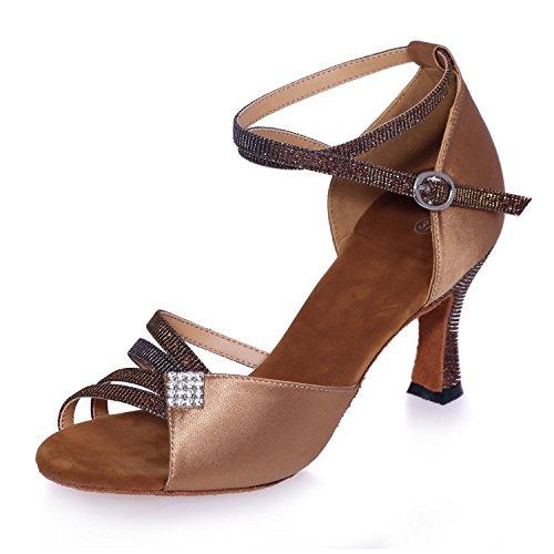 L Para yardas Zapatos Los Baile Latinos Brown Grandes Se En color yc Del Requisitos Bailan Modificar Que Mujeres Satén Pueden Particulares rwx1XqZr