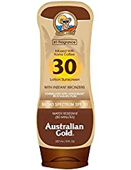 Australian Gold Sunscreen Lotion with Kona Coffee Infused Bronzer SPF 30, 8 Ounce   Broad Spectrum   Water Resistant