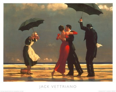 - The Singing Butler Jack Vettriano Umbrella Love Dancing Beach Rain, Overall Size: 19.75x15.75, Image Size: 18.5x13.5