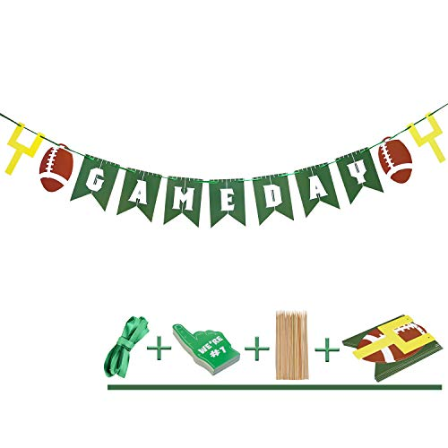 Game Day Football Banner - Birthday Party Bunting Banner - Football Concessions Banner - Tailgate Banner - Football Game Day Party Banners Supplies, Sports Party -