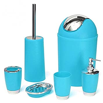Beau 6 Pcs/set Bathroom Necessities Toothbrush Holder Toilet Brush Soap Dish Bin  Cup Sprayer Bottles