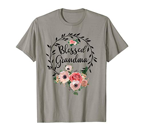 (Blessed Grandma T-Shirt with floral, heart Mother's Day Gift)