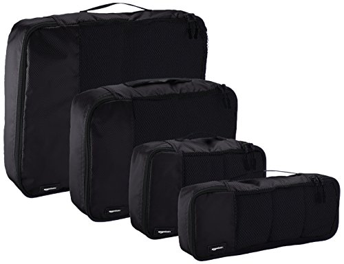 AmazonBasics 4-Piece Packing Cube Set - Small, Medium, Large, and Slim 4 Double zipper pulls make opening/closing simple and fast Mesh top panel for easy identification of contents, and ventilation Soft mesh won't damage delicate fabrics