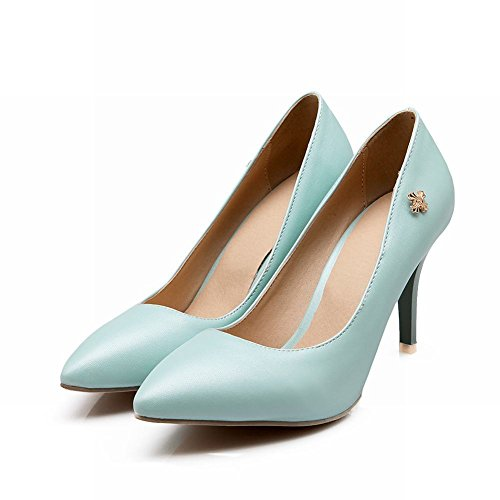 Carol Shoes Elegance Womens Metal Cross Decorations Cuff Pointed Toe Chic High Stiletto Heel Pumps Shoes Blue 2nGJEiq