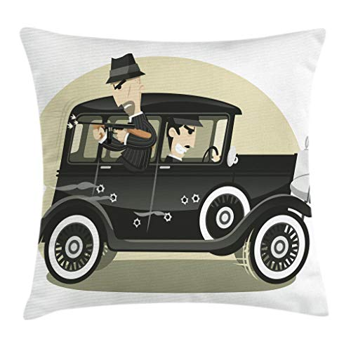 """Ambesonne Black Throw Pillow Cushion Cover, Cartoon Style Illustration of Gangsters Mob Vintage in The Car Pattern, Decorative Square Accent Pillow Case, 20"""" X 20"""", Black Taupe"""