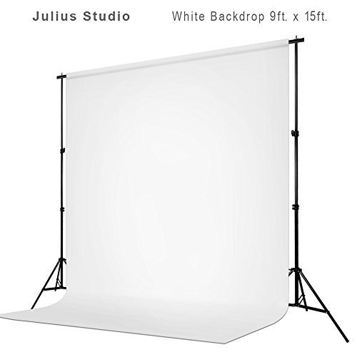 Julius Studio 9 ft X 15 ft White Chromakey Photo Video Studio Fabric Backdrop, Background Screen, Pure White Muslin, Photography Studio, JSAG200 by Julius Studio
