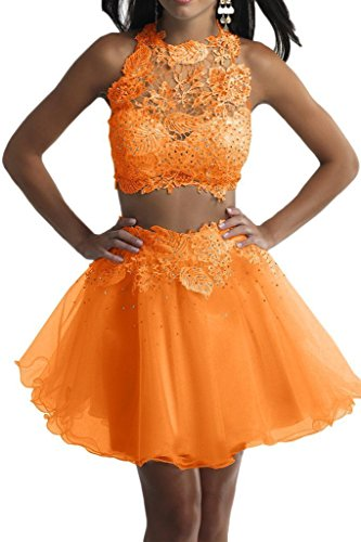 Piece Two Lace Orange Homecoming Prom BessDress Beaded Dresses BD128 Dress Short wExqZpO