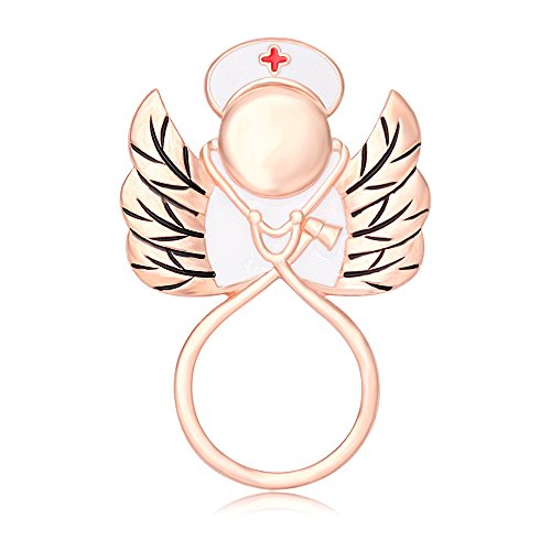 SENFAI Cardiogram Stethoscope Angel Nurse Eyeglass Holder Brooch RN Graduation Gift (Rose ()