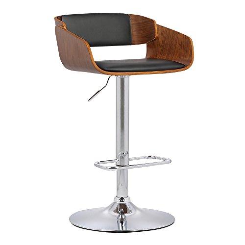 Armen Living LCJEBAWABL Jenny Swivel Adjustable Barstool in Black Faux Leather and Chrome Finish