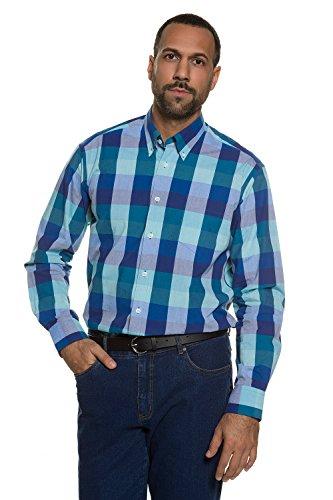 JP 1880 Herren große Größen | Karohemd mit Brusttasche | Buttondown-Kragen | Oxford-Qualität | Modern Fit | bis Größe 7XL | türkis 4XL 708132 46-4XL
