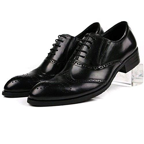Santimon-mens Véritable Nubuck Cuir Sculpté Lacets Affaires Oxford Chaussures Noir