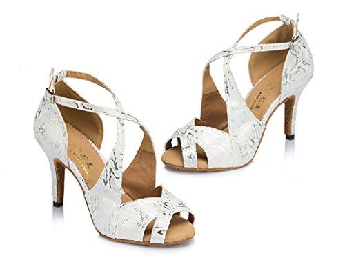 Printed Crc Toe Latin Stylish Womens Micro Party Floral Tango Sandals Suede Professional White Ballroom Morden Dance Peep Salsa Wedding rqq14nWX