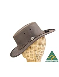Real Australian leather outback bush hat. Made in Australia. Brown