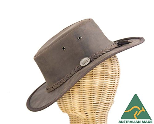 (Real Australian Leather Outback Bush hat. Made in Australia. Brown)