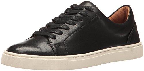 FRYE Women's Ivy Low LACE Fashion Sneaker, Black Soft Nappa Lamb, 6.5 M US