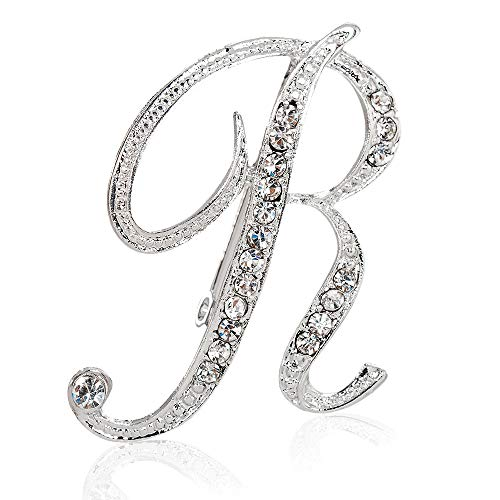 KingBra Silver Plated Crystal Script Initial Letter Brooch Pin, Fashion Breastpin, Excellent Gifts For Festival Decorations