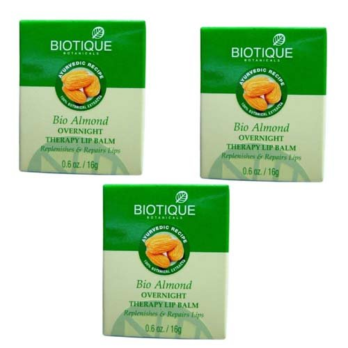 """3 x Biotique Bio Almond Overnight Therapy Lip Balm, 16g (Pack of 3)- """"Shipping by FedEx"""""""