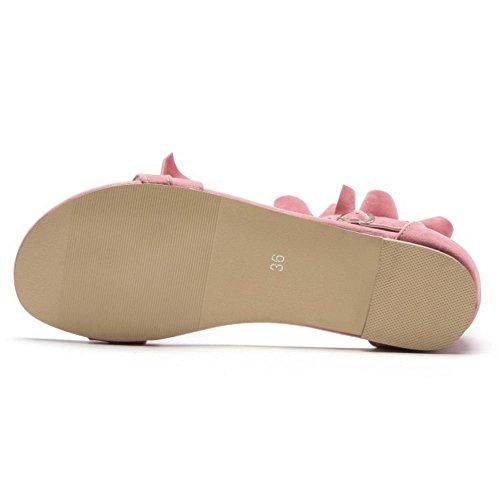Femmes TAOFFEN Pink d'Été Plates Sandales Chaussures Lacets 80xFTf