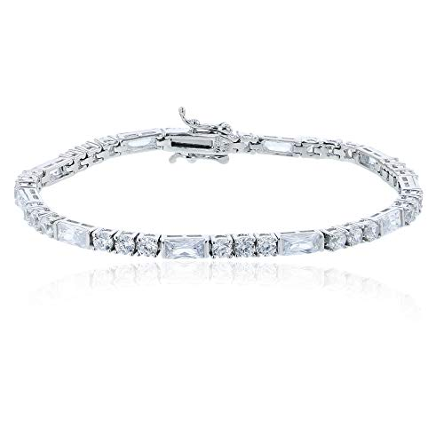 Decadence Women's Sterling Silver Rhodium 3.00mm Round and Baguette Tennis Bracelet, 7.25