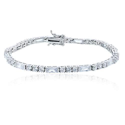 Decadence Women's Sterling Silver Rhodium 3.00mm Round and Baguette Tennis Bracelet, 7.25 (Rope Bracelet Baguette)