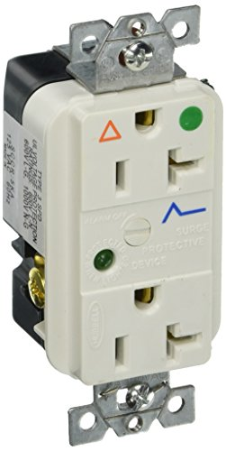 Hubbell Wiring Systems IG8362WSA SpikeShield Circuit Guard Hospital Grade Isolated Ground Surge Suppression Duplex Receptacle with Light and Alarm, 125V AC, 60Hz, 20A, 2 Pole, 3 Wire, White