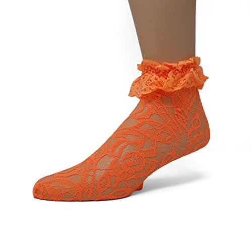 (EMEM Apparel Women's Ladies Lace Anklet Ankle Quarter Socks Stockings with Ruffle Orange 9-11)