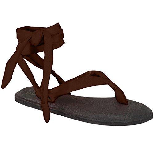 Donna Yoga Flip Flop Fionda Gladiatore Slingback Perizoma Piatta Sandalo Marrone-a