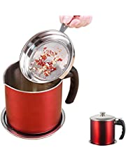 Bacon Grease Container With Strainer, Oil Strainer, Grease Strainer, 304 Stainless Steel Oil Storage Grease Keeper, Grease Strainer and Container with Removable Dustproof Lid and Coaster (Red)